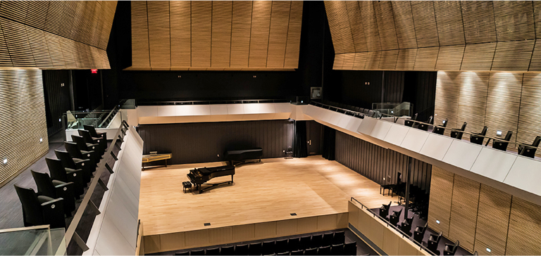 Inside L.R. Wilson Hall Concert Hall with auditorium seating